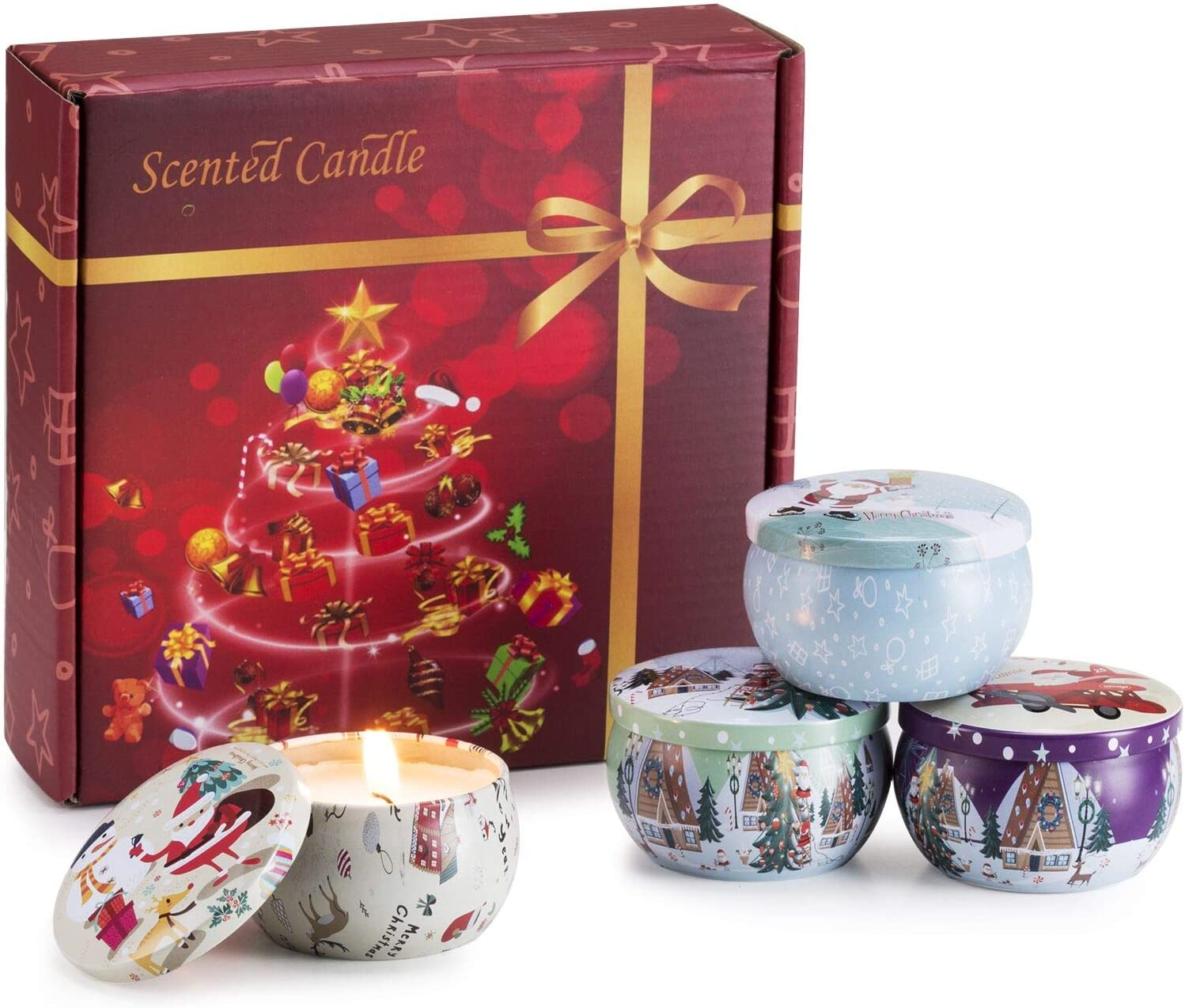 Scented Candles Set for Christmas-Candles for Home Scented,Stress Relief Soy Candles 2.5 Oz,Travel Tin Relaxing Candle with Strongly Fragrance Essential Oils for Aromatherapy,for Bath,Spa,Meditation