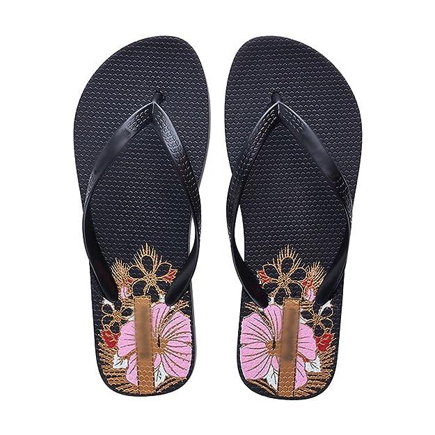 Yiiquan Damen Drucken mit Flach Niedrig Keil Sommer Beach Evening Zehensteg Flip Flops Schuhe Sandalen Dunkel Violett 36 rOQHt