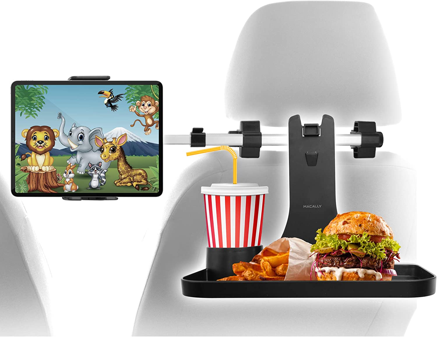 Macally Headrest Tablet Holder for Car with Table - Backseat Entertainment and Snacks for Kids - For Devices 4.5-10