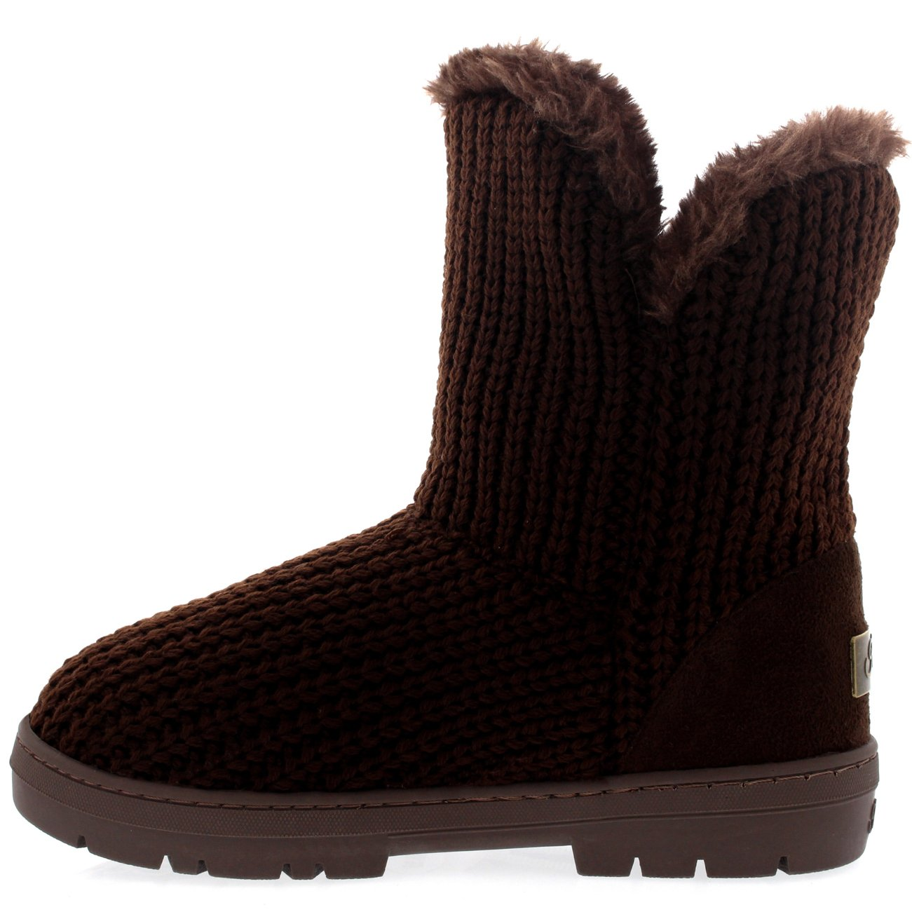 Womens Single Button Fully Fur Lined Waterproof Winter Snow Boots B00YUUGIAW 7 B(M) US|Brown Knitted