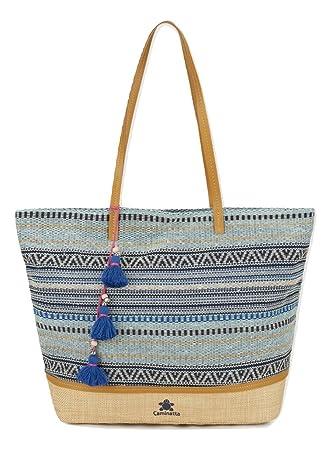 0df963375e3 CAMINATTA Bolso de Playa Caminatta Azul de Tela y Rafia Asa de Hombro