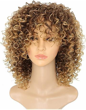 MARIAN Peluca de pelo rizado sintético para mujer con peluca afroamericana T27/33 de repuesto