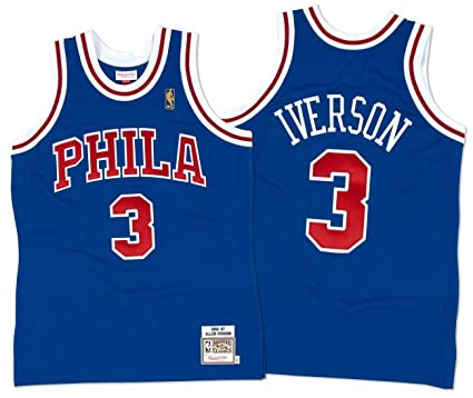f55d178e18e Mitchell Ness Philadelphia 76ers 3 Allen Iverson 9697 50 Year Anniversary  Throwback Premium Jersey