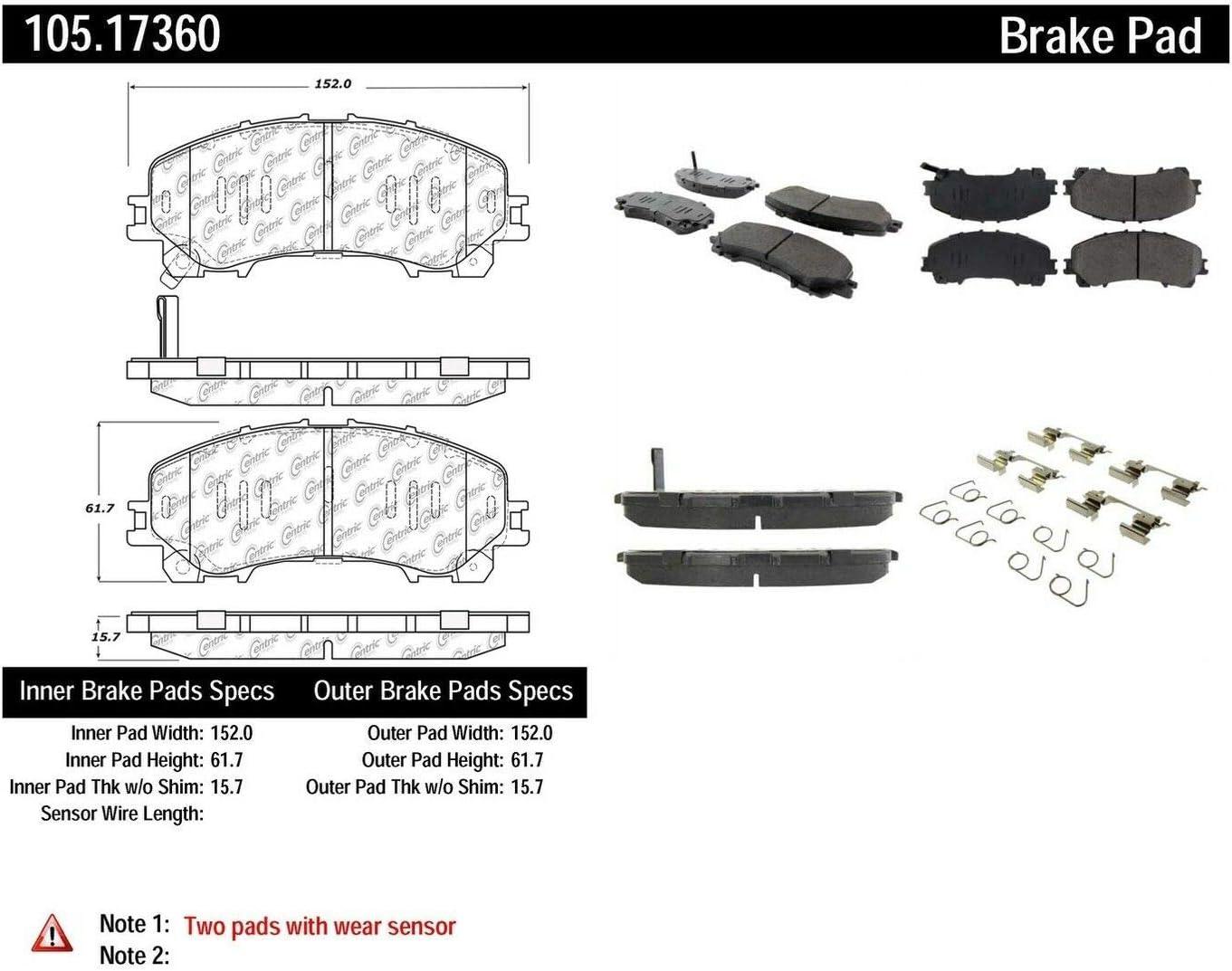 Centric 105.17360 Posi-Quiet Premium Ceramic Brake Pad with ...