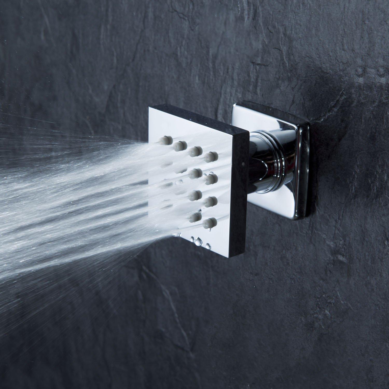 Cascada Modern Solid Brass 16-Nozzle Square Body Spray Jets Shower (Polished Chrome)