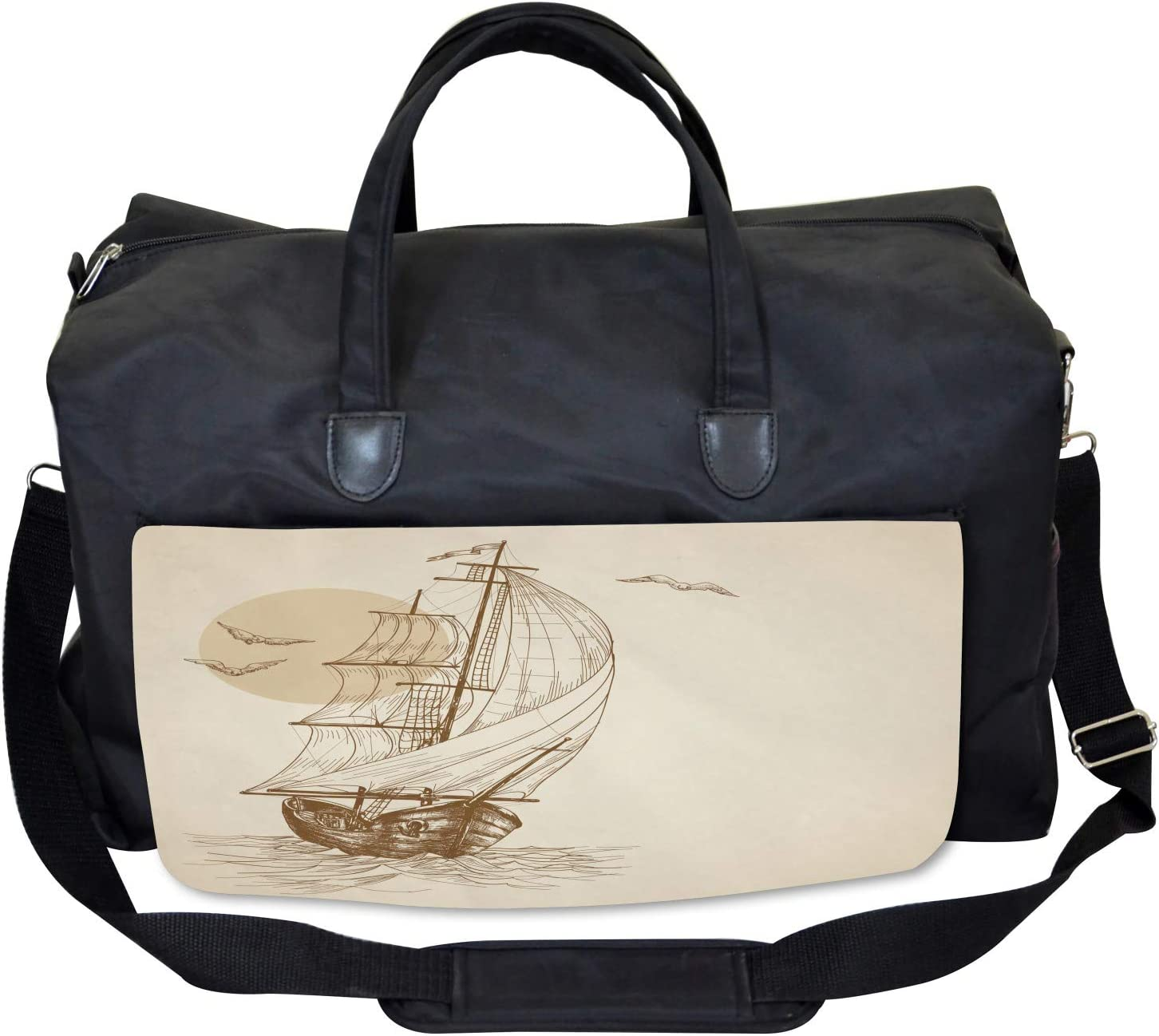 Ambesonne Nautical Gym Bag Large Weekender Carry-on Sailing Ship Birds Sun