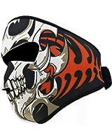 Masque demi visage en néoprène coupe-vent réversible pour moto Motif crâne tribal Noir