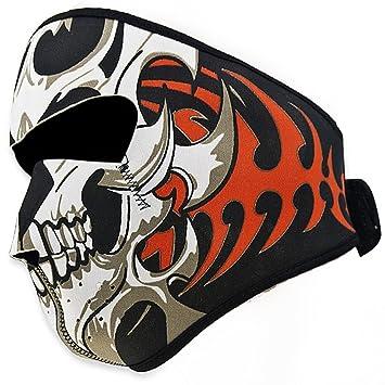 Máscara de Motociclismo Antiviento, Suave a Cara, Premium 2 En 1 Reversible Diseño Tribal