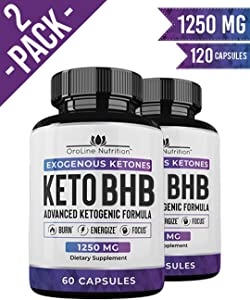 Keto Pills - (2 Pack | 120 Capsules) Advanced Keto Burn Diet Pills - Best Exogenous Ketones BHB Supplement