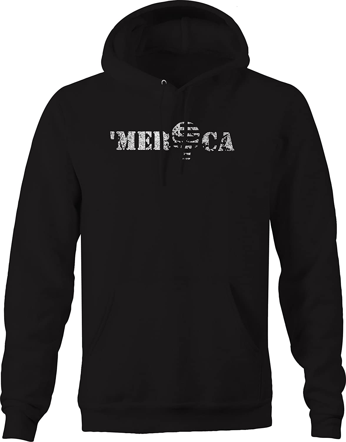 Distressed Merica Patriot Skull America Military Hoodies for Men