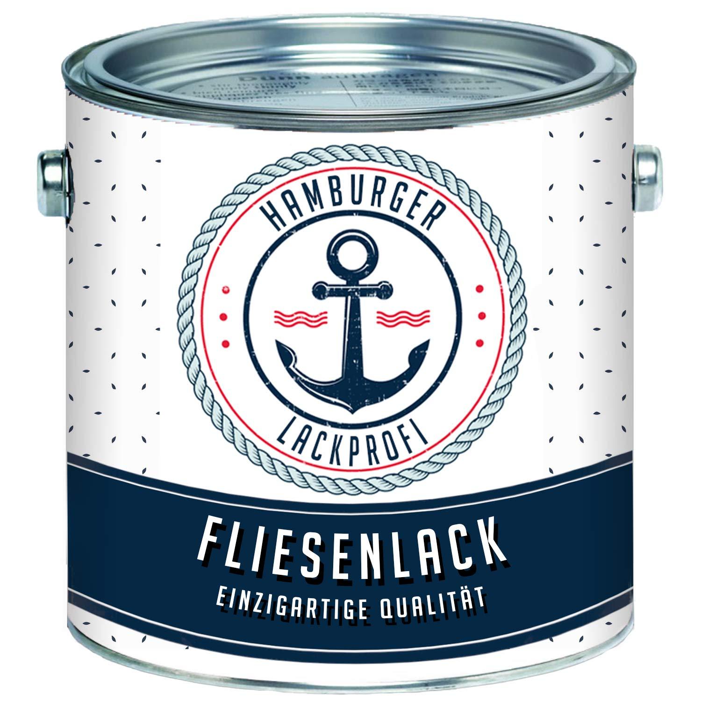 Fliesenlack GLÄNZEND Weiß RAL 9010 Fliesenfarbe im SET // Hamburger Lack-Profi (2, 5 kg) Farben Löwe