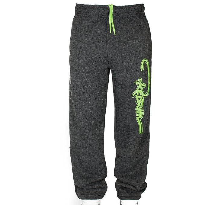 Pantalon deportivo Redrum gris con logo verde neón