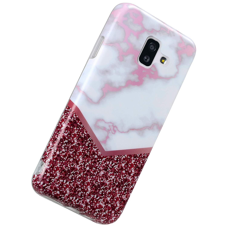Herbests Compatible avec Samsung Galaxy J6 Plus 2018 Coque Silicone Housse Case TPU Bumper Coquille Color/é Peint Cover Marble Caoutchouc Phone Case Ultra Mince Flexible Souple /Étui,Rose