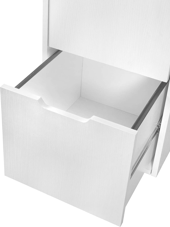 White Wood Grain Niche Mod Freestanding Pedestal Two Drawer Filing Cabinet