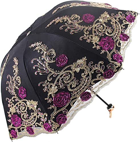 Honeystore Sun Protection Vintage Lace Parasol Decorative Umbrellas for Wedding BM1820 Black