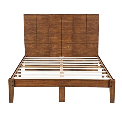 4ba5ea4c9b0c Amazon.com  SLEEPLACE SVC48SF01K 48 Inch Tall Headboard Platform Slats Bed  Frame King Natural  Kitchen   Dining