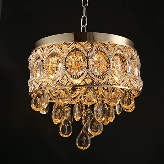 Crystal chandelier modern retro amber color crystal gold lamp crystal chandelier modern retro amber color crystal gold lamp bracket chandeliernot include the light mozeypictures Image collections