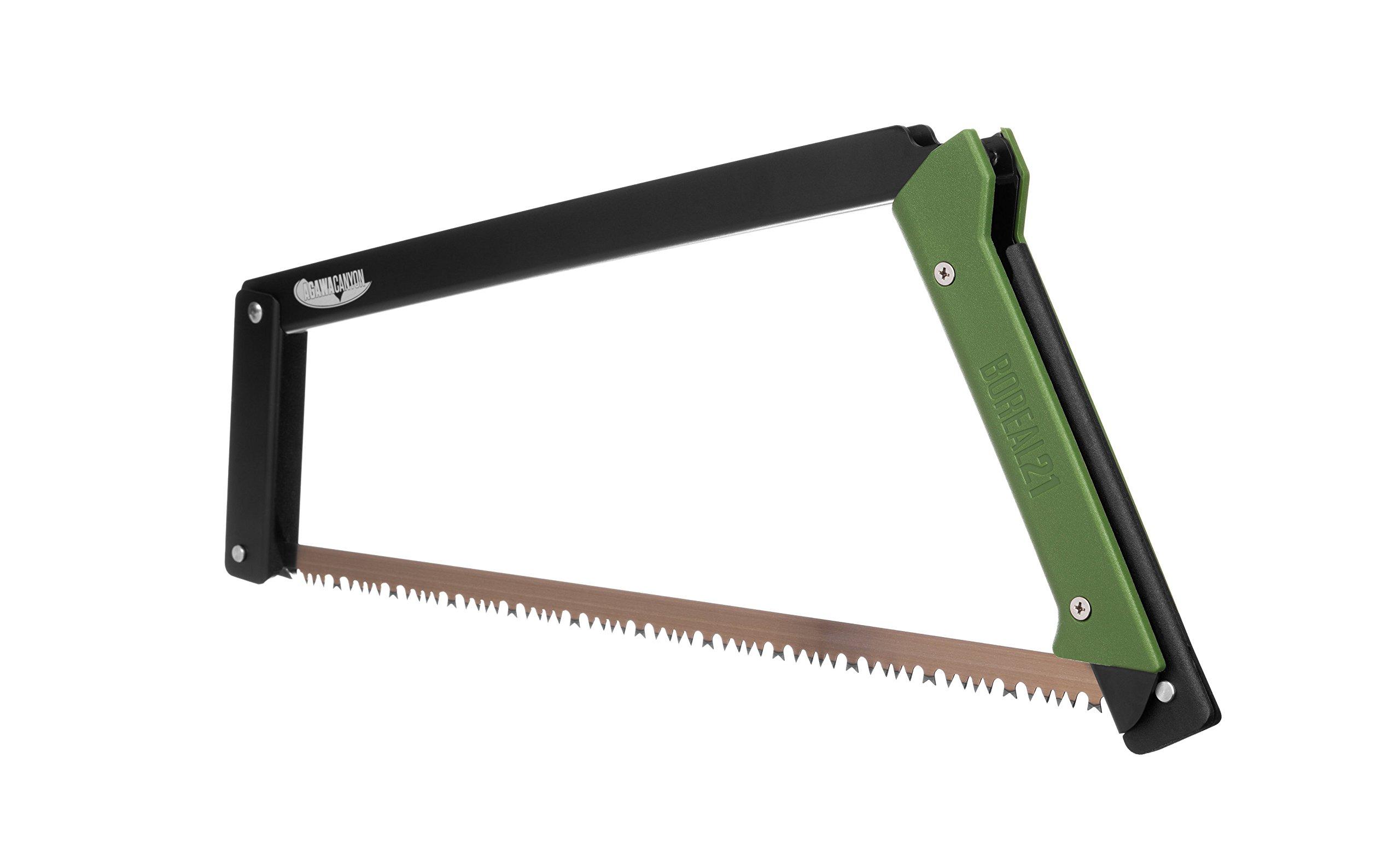 Agawa Canyon - BOREAL21 Folding Bow Saw - Black Frame, Green Handle, All-Purpose Blade