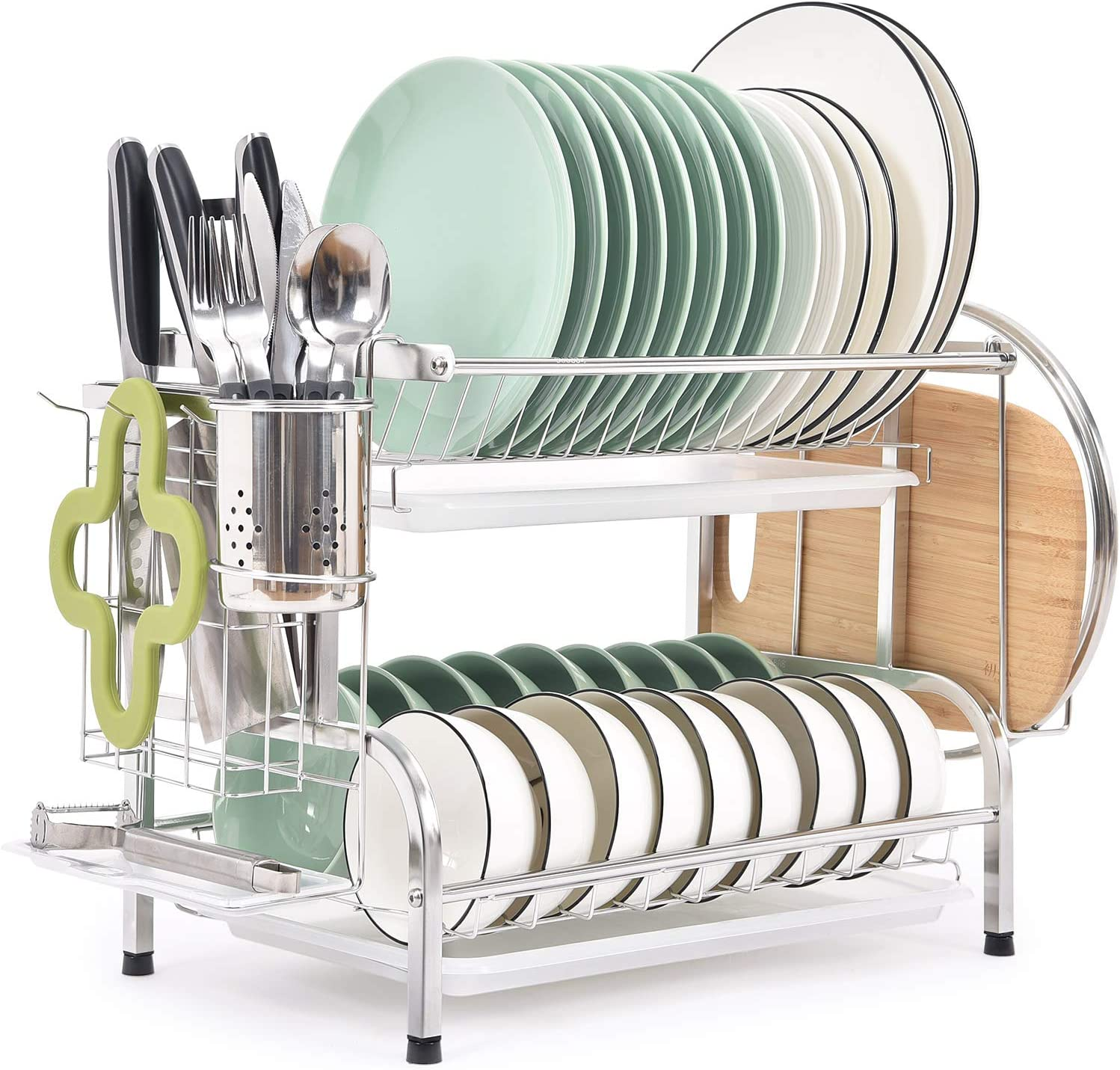 Tomoral Dish Rack 304 Stainless Steel 2 Tier Dish Drying Rack With Drain Board Utensil Holder Cutting Board Holder Rustproof Dish Drainer For Kitchen Countertop Silver Kitchen Dining