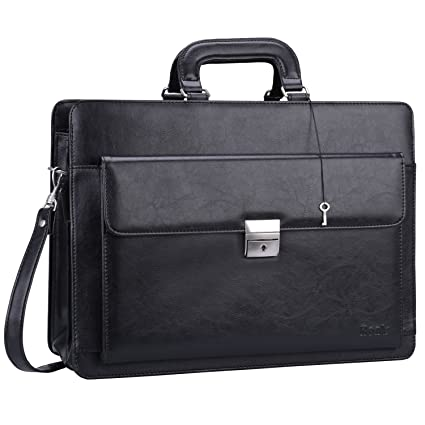 681339a457d Ronts Mens PU Leather Briefcase with Lock Laptop 15.6 Inch Messenger Bag  Shoulder Business Bag