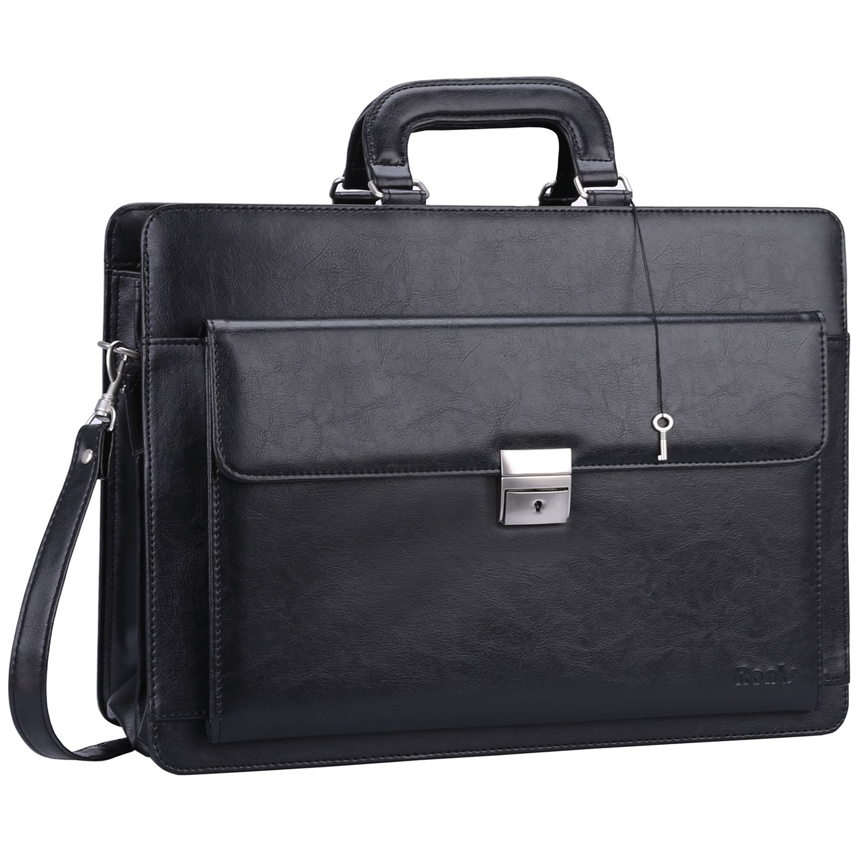 Ronts Mens PU Leather Briefcase with Lock Laptop 15.6 Inch Messenger Bag Shoulder Business Bag