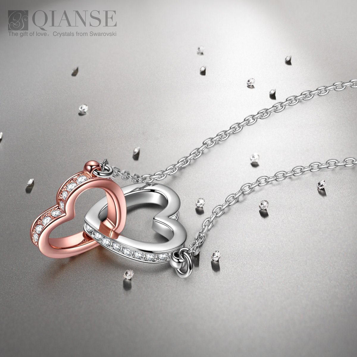 QIANSE Love Heart Necklaces for Women for Women Teen Girls Swarovski Crystal Jewelry Silver Necklace for Her Birthday Gifts for Mom Grandma Wife Girlfriend Daughter by QIANSE (Image #2)