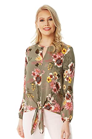 Ladies Women Roman Originals Spot Button Through Tie Front 3//4 Sleeve Blouse