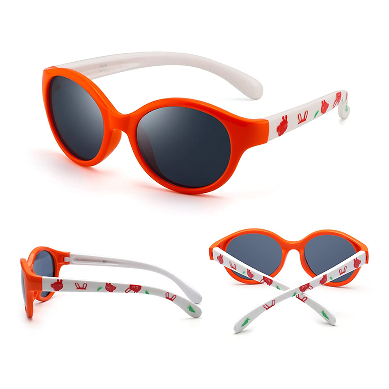 Niños Redondo Goma Polarizadas Gafas de Sol Sombras Lindas Chica Chico Hijo 3 a 12(Naranja/Gris Polarizado): Amazon.es: Ropa y accesorios