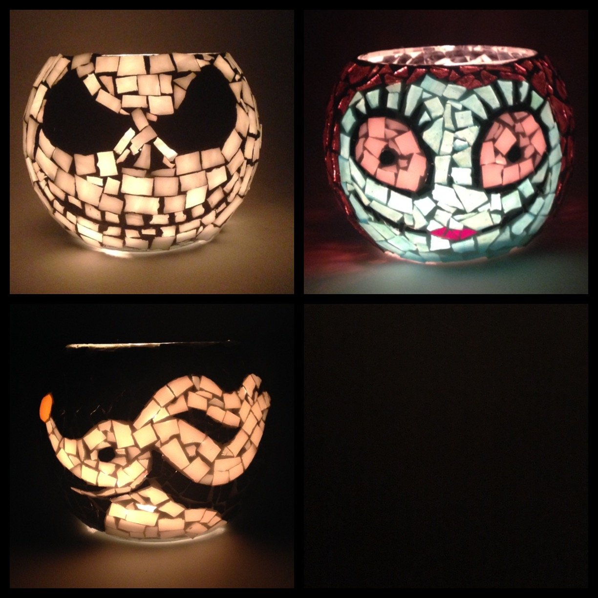 Mosaic Candle Holders,3 Votives, Handcrafted Mosaic stain glass characters,