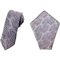 Men's Purple Floral Paisley 6 CM Skinny Tie And Matching Pocket Square Set | Stripes Gift Tie Handkerchief Bundle | Vintage Ties Hanky Combo | Groomsmen Tie and Hankies Bundle