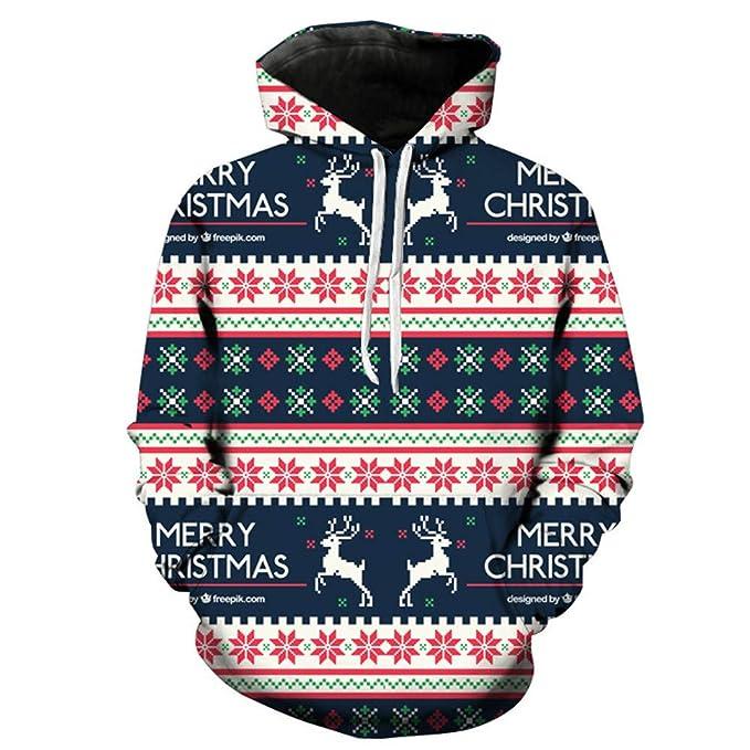 Sudaderas con Capucha navideña para Hombre Tallas Grandes,Gusspower Camisetas Impresión de Alces de Navidad