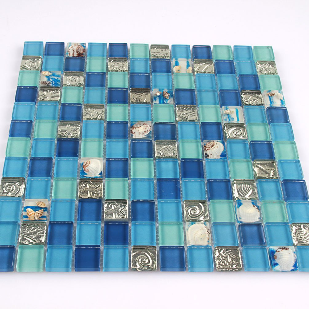 Ocean Blue Resin Tiles Green Bathroom wall tiles Glass Conch Mosaic Silver Kitchen Backsplash Deco Sheets [Pack of 11PCS(11.8x11.8x0.31 Inches/each)]