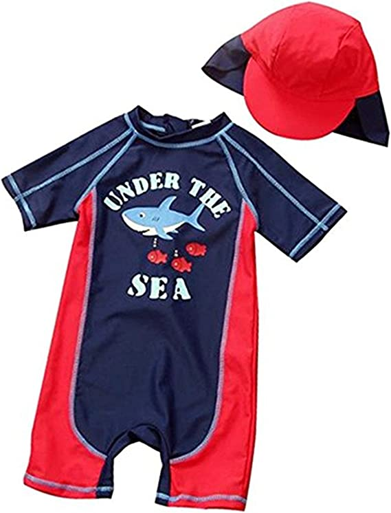 Baby Toddler Boy Swimsuit Kid Rash Guard Swimwear with Swim Hat UPF 50+