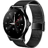 KKmoon K88H Smartwatch Bluetooth para Smartphone IOS 7.0 Android 4.3 y superior (Podómetro, Ritmo Cardíaco, Sedentario,Notificación de Teléfono, Música Remoto, Iluminar la Pantalla con Mano Aumento)