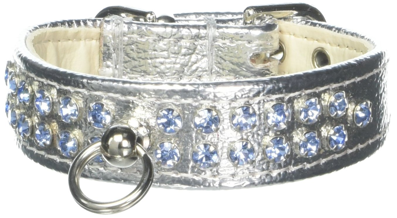 Mirage Pet Products Fleetwood Dog Collar, 10-Inch, Silver with Light bluee Stones