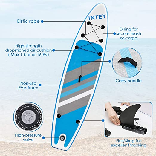 INTEY Tabla Paddle Surf Hinchable 320×76×15cm, Sup Paddle Remo Ajustable, Tabla Stand Up Paddle Board, Bomba de Doble, Seguridad: Amazon.es: Deportes y aire libre