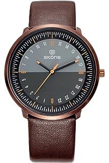 Skone Reloj Hombre Moda Diseño Cuero Casual Clásico Analogico Quartz