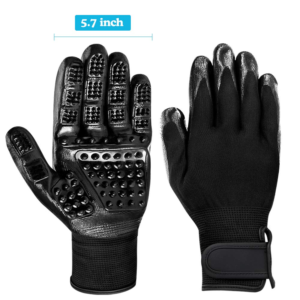 DELOMO Pet Deshedding Glove, Left & Right-Gentle Grooming Gloves, for Dogs,Cats & Horses, Efficient Pet Hair Remover Glove, Hair Glove with Enhanced Five Finger Design by DELOMO (Image #7)