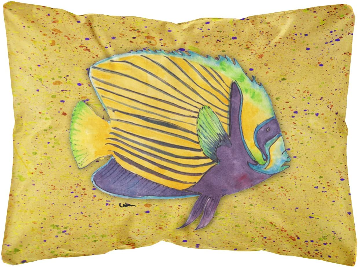 Caroline s Treasures 8577PW1216 Tropical Fish on Mustard Canvas Fabric Decorative Pillow, 12H x16W, Multicolor