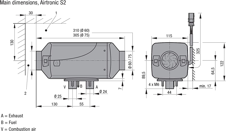 Boat Van North American Version Camper or Overlander With EasyStart Pro Timer Eberspacher Espar Airtronic S2 D2 L 12V Diesel Air Heater Max 2200 Watt 7500 BTU Diesel Heater For Your Truck