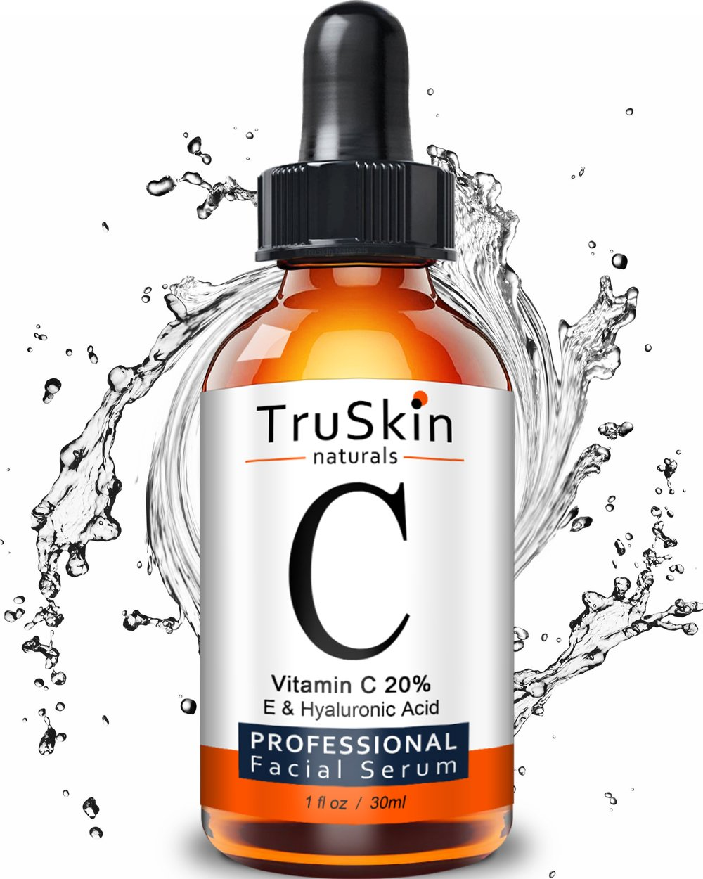 TruSkin Naturals Vitamin C Serum for Face, Topical Facial Serum with Hyaluronic Acid & Vitamin E, 1 fl oz.