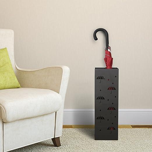 Amzdeal Paragüero Cuadrado Soporte para Paraguas (55 x 18 x 18 cm) De hierro Color Blanco y Negro (Negro con letras)