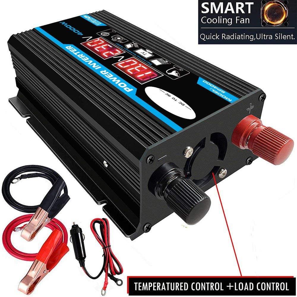 Knossus da 4000 W 12V a 220 V 110 V Dual USB LED Car Power Inverter Converter Modified Wave Nero