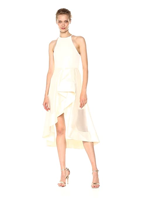 9d741085f768 Amazon.com: Halston Heritage Women's Sleeveless High Neck Dress with Flounce  Sheer Skirt: Clothing