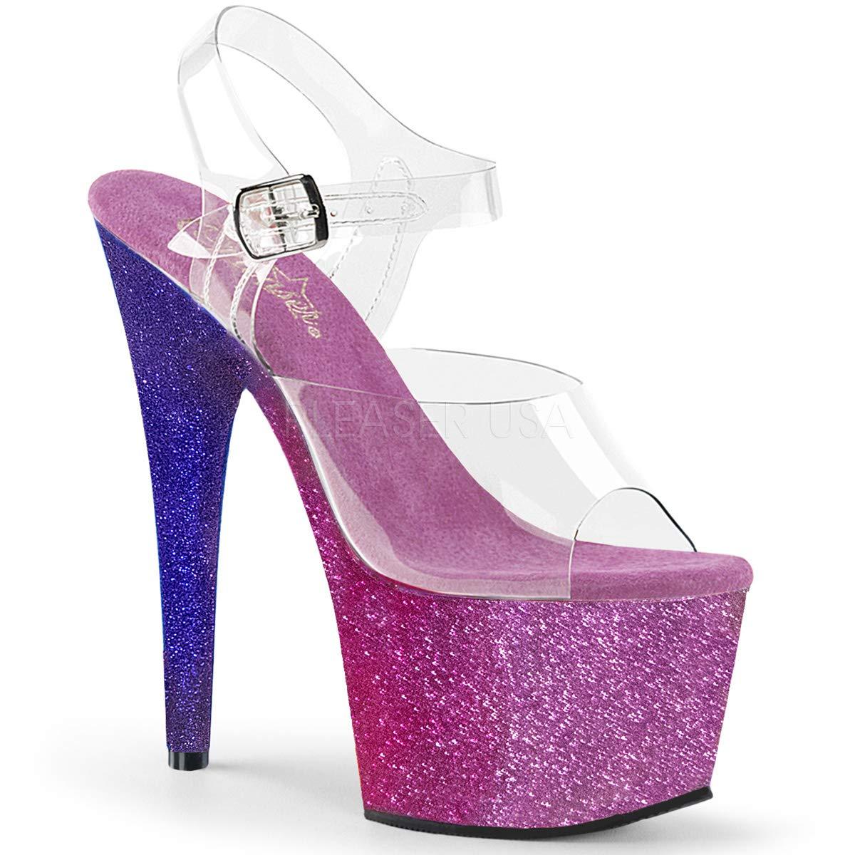 Women's Adore Clear Open Toe Top Sparkling Fuchsia Ombre Platform Sandals - DeluxeAdultCostumes.com