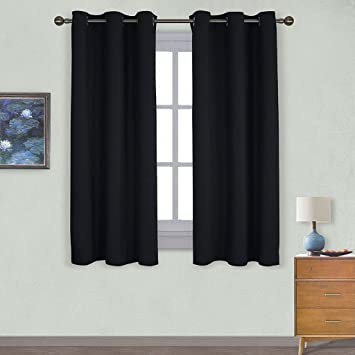 NICETOWN Pitch Black Solid Thermal Insulated Grommet Blackout Curtains /  Drapes For Bedroom Window (2