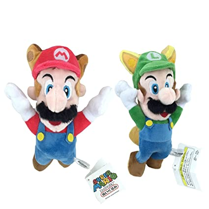 Amazon com: New Super Mario Bros  2 Raccoon Mario Fox Luigi