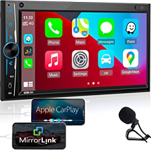 Bluetooth Car Stereo Apple Carplay: in-Dash Double Din Digital Media Receiver -7