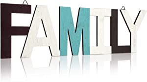 Hicarer Rustic Wood Family Sign Home Sign Love Sign Decor, Multicolor Decorative Word Signs Wooden Block Wall Letters for Home Living Room and Wall Decor (Family)