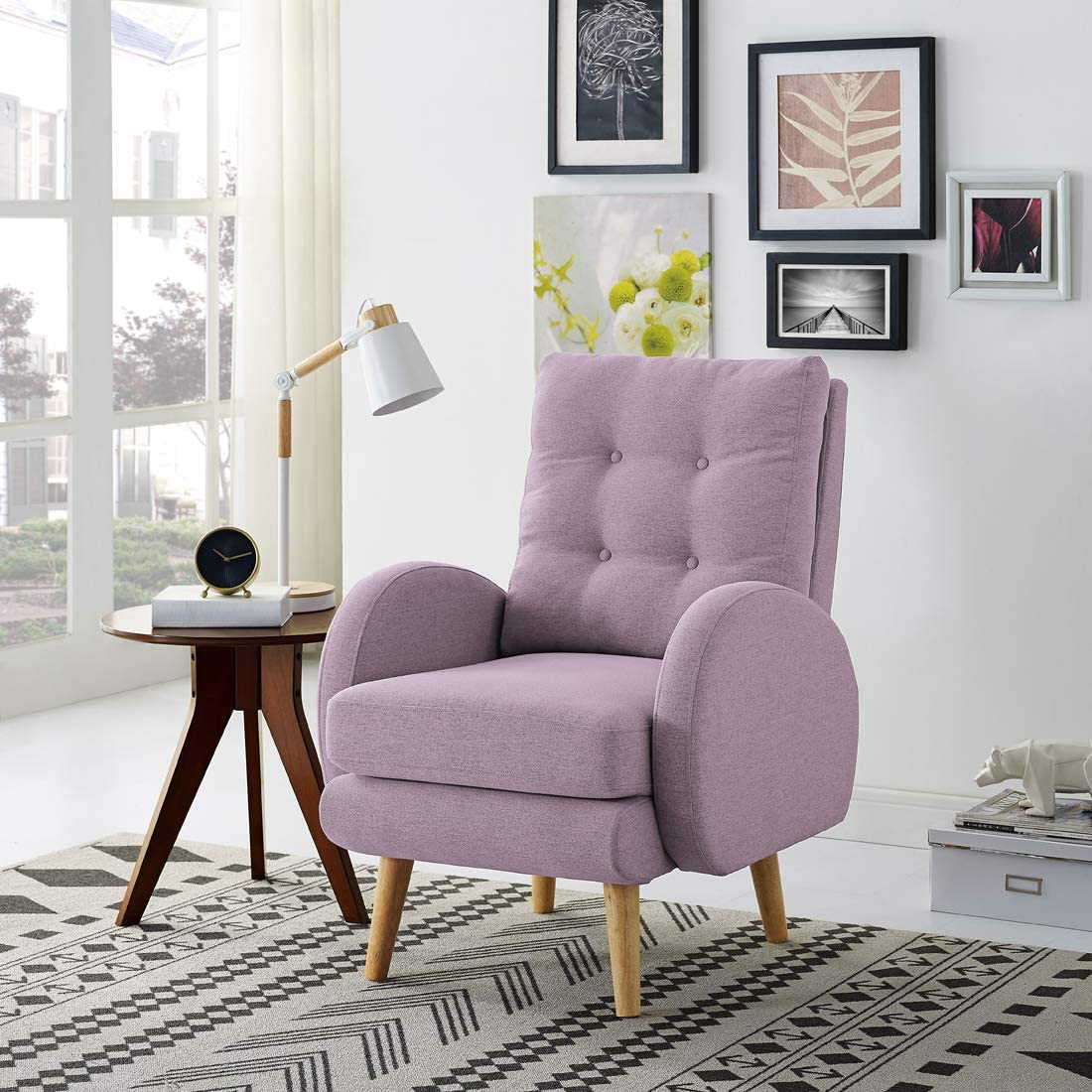 Lohoms Mid-Century Modern Accent Chair Tufted Button Fabric Uphlostered Curved Arm Chair Comfy High Back Chair Single Sofa Purple